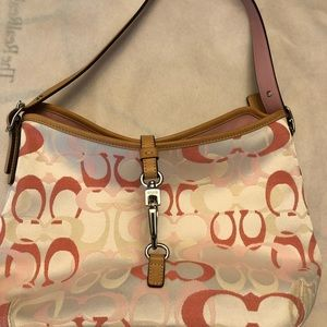 Authentic Coach pink and white bag